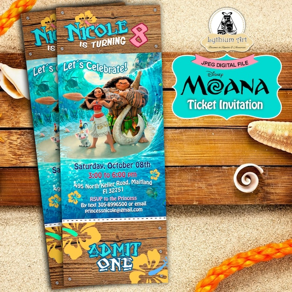 Moana Ticket Invitation Moana Birthday Party Disney Moana