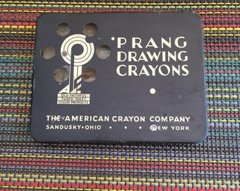 Shipping Included Vintage Prang Drawing Crayons Tin American Crayon Company Sandusky Ohio New York Old Faithful Tuned Palet Color Products