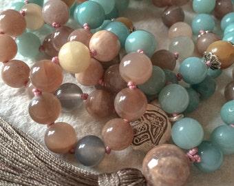 AA Amazonite Moonstone Mala Necklace, 108 Mala Beads, Yoga Jewelry, Meditation Beads, Buddhist Mala Prayer Beads, Tibetan Mala, Japa Mala