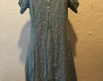 Vintage Dress- 90s Vintage Another Thyme Light Green Floral Mini Flare Dress