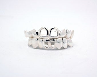 Custom 10K 14K Plated White Gold Grillz Joker Style Top & Bottom Suicide Squad Grill