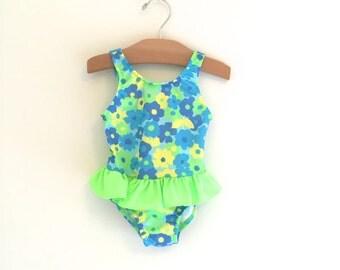Vintage 90's Girl's Neon Flower Swimsuit, Girl's Vintage Bathing Suit, Girl's Vintage Swimwear, Size 2T