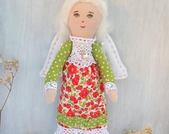 Stuffed soft doll, Angel, fabric interior doll, Angel Cloth doll