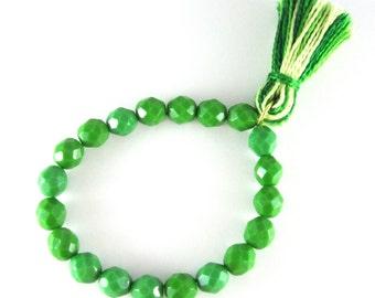Green Czech Glass *KELLIE* Beaded Tassel Stretch Bracelet, Stackable Bead Bracelet