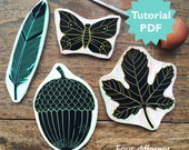 Rubber Carving Tutorial with four different stamp designs. A butterfly, a feather an acorn and a fig leaf. PDF, instant download