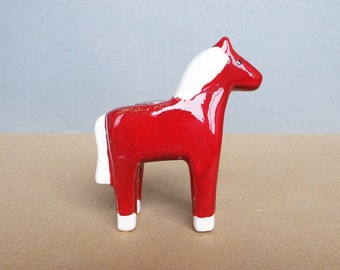 Vintage Pottery Horse Candle Holder Swedish Dalahäst - Dala horse