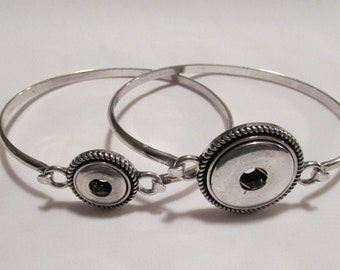 Silver Plated Wire Hook Bangle Button Snap Bracelet like Ginger Snaps and Noosa - 2 Available Sizes - 12mm Petite and 18-20mm Regular