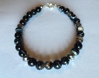 8mm Semi Precious Onyx Round Beaded Bracelet