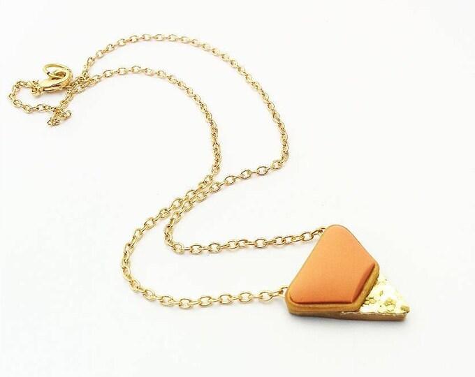 VERVE PENDANT NECKLACE// Orange, polymer clay, and gold glitter, triangle pendant//  Little Tusk geometric handmade pendant// #PN4056A