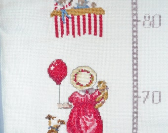 CHILDS HEIGHT CHART, French Measuring Chart, French Height Chart, Cross Stitch Wall Hanging.
