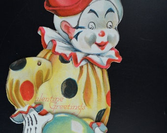 Mechanical Valentine Card Clown with Ball