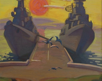 "VINTAGE ORIGINAL OIL painting ""Berth"" by P. Sytnik 1989, Handmade art, Seascape, Sunset, Boat, Warships, Impressionist art, Soviet artwork"