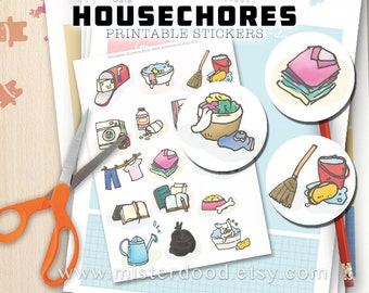 HOUSE CHORES Printable Sticker, To-do List Schedule Planner Household Laundry Cleaning Tasks, Cute Clipart Illustration, Instant Download