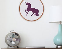 Unicorn Silhouette, modern unicorn cross stitch pattern, minimalist cross stitch art, nursery cross stitch decor, baby room wall decor, pdf
