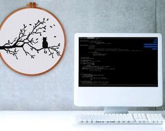 Cat on Tree silhouette cross stitch pattern| Modern cat cross stitch chart| Minimalist cute easy cross stitch| Instant download pattern pdf