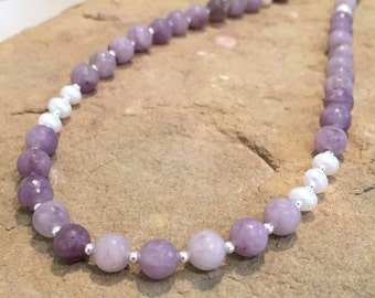Purple necklace, lavender stone necklace, pearl necklace, gemstone necklace, silver necklace, layering necklace, statement necklace