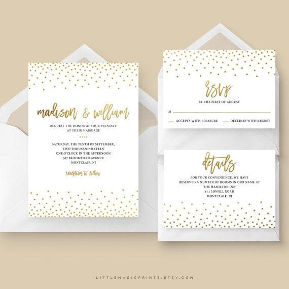 Printable Wedding Invitation Package Printable Gold Amp White