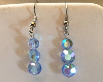 Blue Aurora Borealis Crystal Beaded Pierced Earrings