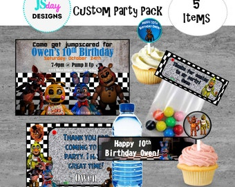 Five Nights at Freddy's Birthday; Invite; Invitation; Water Bottle Label; Treat Bag; Cupcake Topper; FNaF Party Supplies; Invitations; pack
