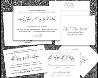 PRINTED Simple Clean Wedding Invitation, Rsvp, & Accommodation Card w/both Envelopes Oversized Script Font Names Romantic Elegant Chic White