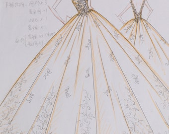 Wedding dress sketch, bridal dress sketch, birdal gown sketch, dress sketch for making wedding dress