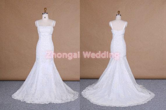 Mermaid shape wedding dress lace bridal dress by for Mermaid shape wedding dress