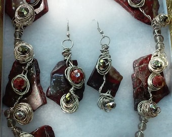 "Handmade Red Jasper Necklace Set- Crystal, Glass, Silver, Design, Collared Necklace (18.5"")/Earrings (2.25"")"