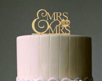 Mrs And Mrs Wedding Cake Topper, Same Sex Wedding Cake Topper, Rustic  Wedding Cake