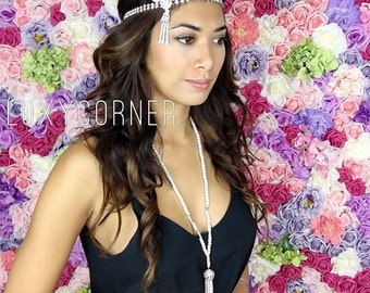 1920's headpiece Great Gatsby headpiece gatsby headpiece Inspired gold silver leaf medallion pearl headpiece headband