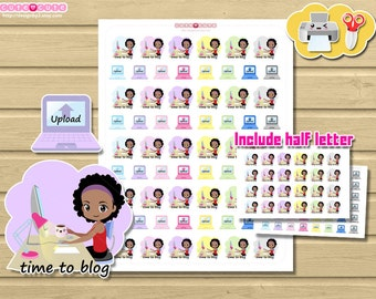 Chic Blogging Printable Stickers For use on Happy planner, filofax, kikki k, etc.  Kawaii Print and Cut stickers Write blog and Upload.