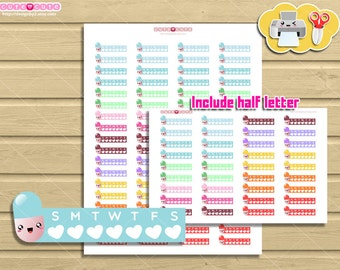 Kawaii Pills and Vitamin Tracker, For use on Happy planner, filofax, kikki k, etc, planner and organize stickers