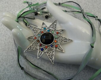 Large STAR pendant, Long RIBBON NECKLACE with Lime Green, beaded ends