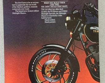 1981 Yamaha Midnight Maxim Motorcycle Double Page Print Ad