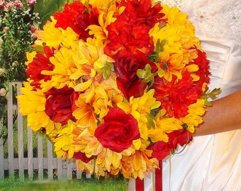 Fall silk flower bridal bouquet sunflowers ranunculus calla for Fall wedding bouquets for sale