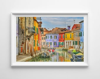 Burano Italy Photo, Colorful Art Print, Venice Photography, Burano Wall Decor, Canal, Street, Colorful Houses, Italy Wall Art, Full Color