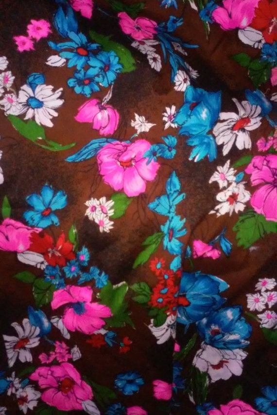 Vintage floral 1960s fabric by the yard meter acrylic for Fabric by the yard near me