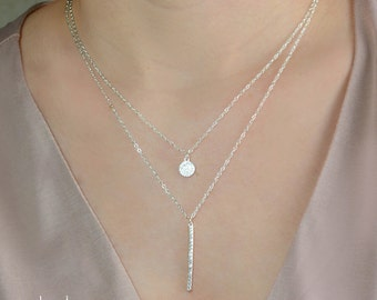 Diamond Pave Disc Bar Necklace Set, cz necklace, Sterling Silver, Gold, Rose Gold, Delicate Necklace, Bridal Necklace,