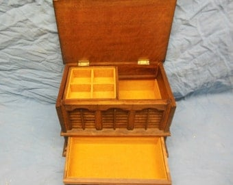 Vintage Wooden Jewelry Box - Shabby Chic Wood Patina Jewelry Storage Felt Drawers