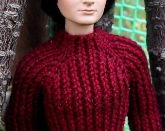 "Dark red hand made sweater for 17"" male Tonner dolls"