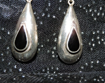 Onyx Dangle Earrings Sterling Silver
