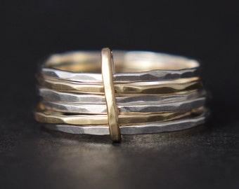 Stacking Rings - Skinny Stacking Rings - Stacking Rings UK - Mixed Metal Stacking Rings - Gold Stacking Rings - UK Handmade