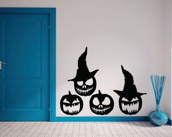 Halloween Pumpkin Witches Wall Vinyl Decal, Halloween Wall Decor, Halloween  Wall Decal Set,