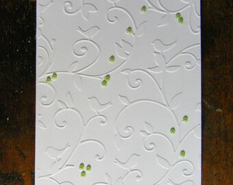 Embossed All Occasion Greeting Card, Birds on a Vine Embossed Card, White or Ivory, Blank Inside, All Occasion Greeting Card, Handmade Card