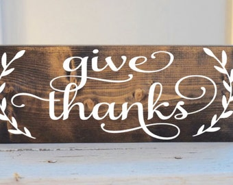 Give Thanks with leaves sign, Thanksgiving sign, Give Thanks wood sign, fall sign, autumn wood sign