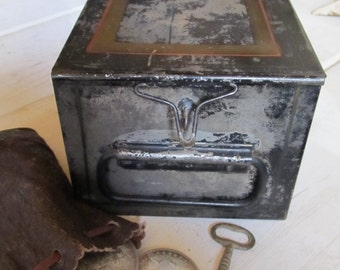 Vintage Bank Safety Deposit Box, Industrial Bank Box, Metal Storage, Industrial Storage