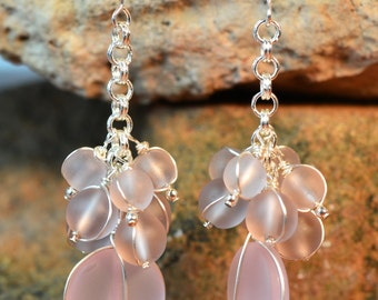 blossom pink sea glass cluster