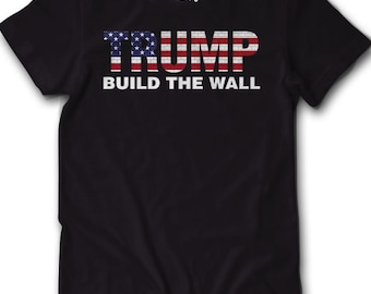 Vote Trump Build The Wall Shirt 2016 USA Election Politics Donald Funny Tee Mens Womens Vote President White House Mexico Flag America