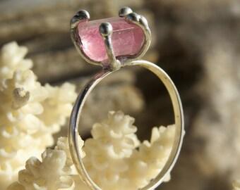 Pink tourmaline silver filled ring   Raw pink tourmaline ring