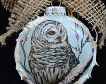 Christmas Owl Ornament, Hand Painted Majestic Owl,Glass Bird Ornaments, Christmas Tree Decor