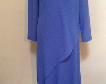 Vintage Cornflower Blue American 1980s Stylish Dress/ Size 8